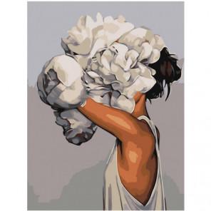 Девушка с цветком Раскраска картина по номерам на холсте