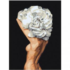 Девушка цветок 75х100 Раскраска картина по номерам на холсте