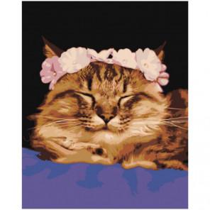 Кошка с венком 80х100 Раскраска картина по номерам на холсте