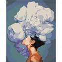 Девушка с пышным белым цветком Раскраска картина по номерам на холсте