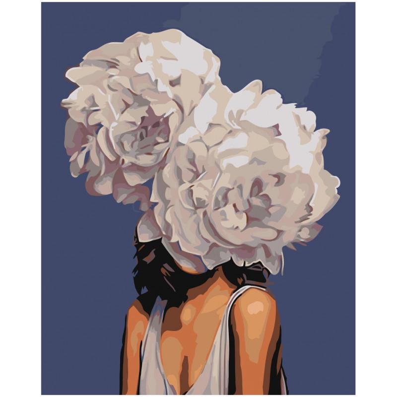 Девушка с белыми пионами Раскраска картина по номерам на ...
