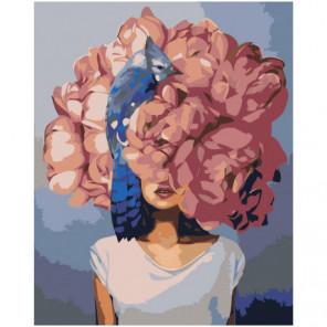 Девушка под розовым цветком с птицей Раскраска картина по номерам на холсте