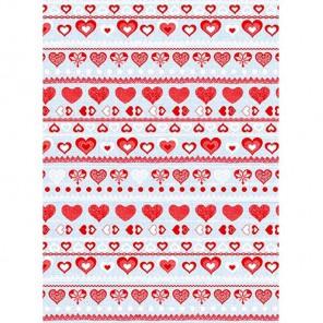 Полоски и сердечки красно-голубые Бумага для декопатча Decopatch
