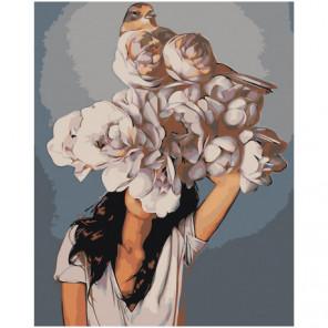 Девушка под пышным цветком 80х100 Раскраска картина по номерам на холсте