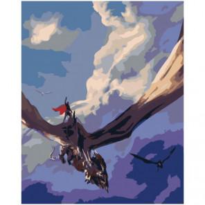 Верхом на драконе 100х125 Раскраска картина по номерам на холсте