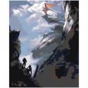 Дракон на скале Раскраска картина по номерам на холсте