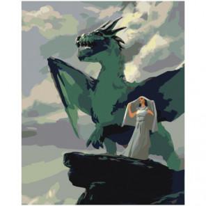 Девушка и дракон Раскраска картина по номерам на холсте