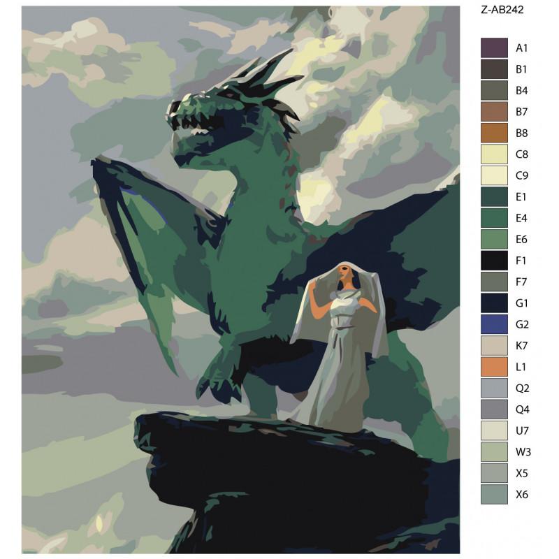 Девушка и дракон Раскраска картина по номерам на холсте Z ...