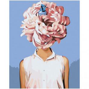 Девушка с розовым цветком Раскраска картина по номерам на холсте