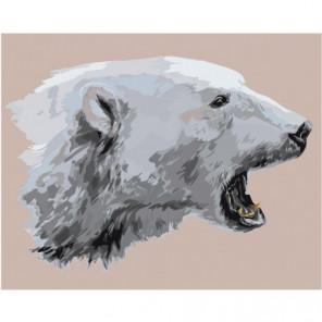 Белый медведь 80х100 Раскраска картина по номерам на холсте