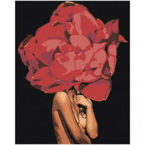 Девушка с пышным красным цветком Раскраска картина по номерам на холсте