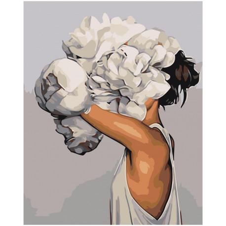 Девушка за белым цветком Раскраска картина по номерам на холсте