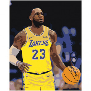 LA Lakers 100х125 Раскраска картина по номерам на холсте