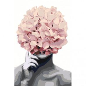 Розовая Цветочная голова 80х120 Раскраска картина по номерам на холсте
