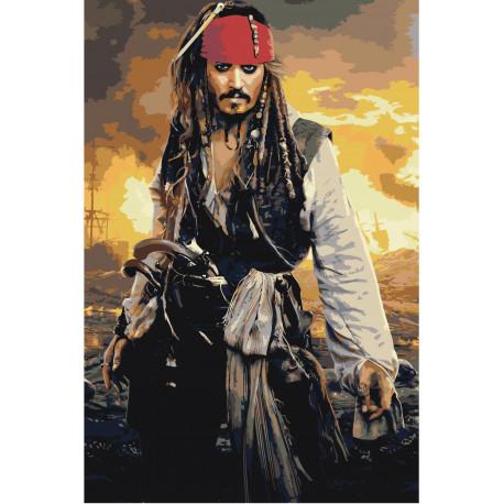 Пираты Карибского моря 80х120 Раскраска картина по номерам на холсте