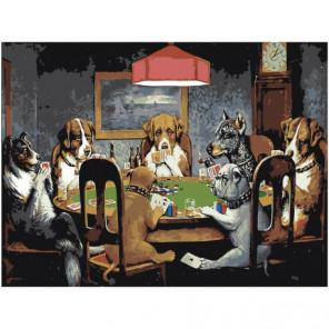 Собаки играют в покер Раскраска картина по номерам на холсте