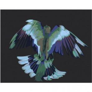 Сине-зелёная птица 80х100 Раскраска картина по номерам на холсте