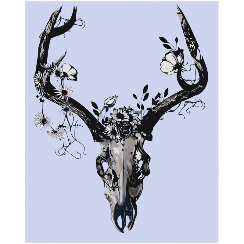 Чёрно-белый череп с цветами 80х100 Раскраска картина по ...
