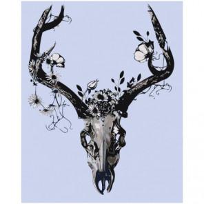 Чёрно-белый череп с цветами Раскраска картина по номерам на холсте