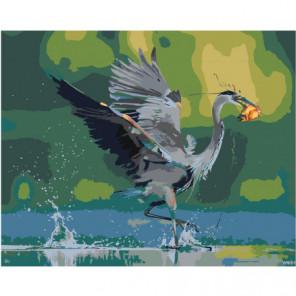 Цапля с рыбой Раскраска картина по номерам на холсте