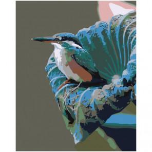 Птица на цветке 100х125 Раскраска картина по номерам на холсте