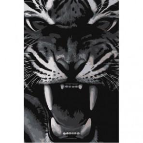 Тигриный оскал 80х120 Раскраска картина по номерам на холсте