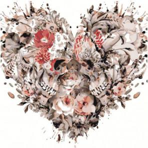 Сердце из черепов 100х100 Раскраска картина по номерам на холсте