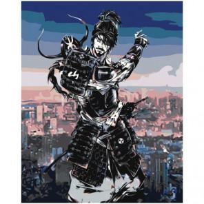 Киберсамурай 80х100 Раскраска картина по номерам на холсте
