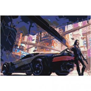 Cyberpunk Авто 80х120 Раскраска картина по номерам на холсте