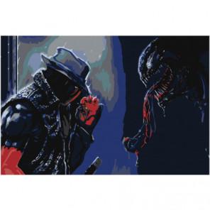 Дэдпул против Венома Раскраска картина по номерам на холсте
