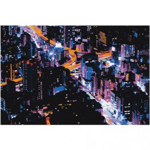 Ночной город 80х120 Раскраска картина по номерам на холсте
