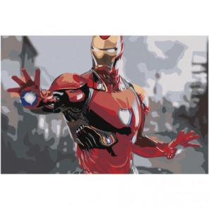 Железный человек Раскраска картина по номерам на холсте