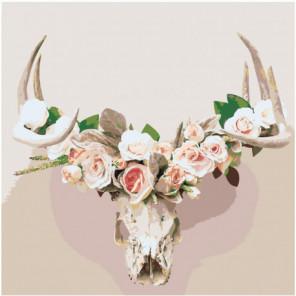 Череп оленя с розами 100х100 Раскраска картина по номерам на холсте