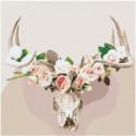 Череп оленя с розами Раскраска картина по номерам на холсте
