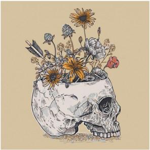 Полевые цветы в черепе Раскраска картина по номерам на холсте