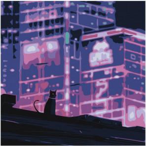 Кошка в неоновом городе Раскраска картина по номерам на холсте