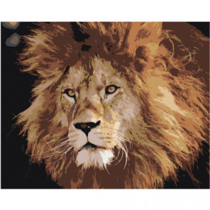 Брутальный лев 100х125 Раскраска картина по номерам на холсте