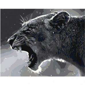 Черно-белая львица 100х125 Раскраска картина по номерам на холсте