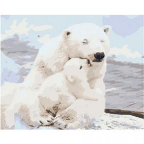 Белая медведица и медвежонок Раскраска картина по номерам на холсте