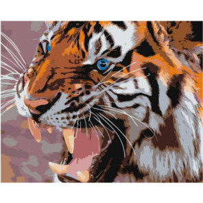 Тигриный оскал 80х100 Раскраска картина по номерам на холсте