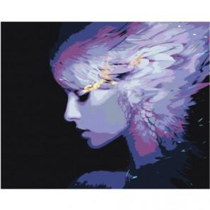Девушка с перьями 80х100 Раскраска картина по номерам на холсте