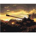 Танк на поле боя Раскраска картина по номерам на холсте