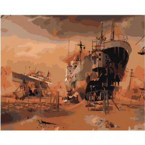 Корабли 80х100 Раскраска картина по номерам на холсте