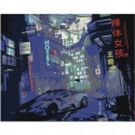 Ночной город киберпанк Раскраска картина по номерам на холсте