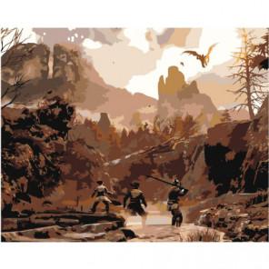 Охота в горах 100х125 Раскраска картина по номерам на холсте