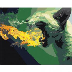 Кот изрыгающий пламя Раскраска картина по номерам на холсте