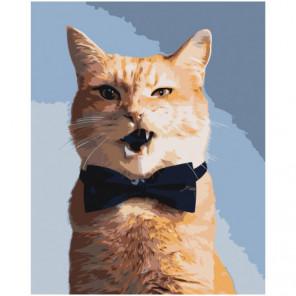 Рыжий кот в бабочке 80х100 Раскраска картина по номерам на холсте