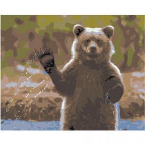 Медведь машет лапой 80х100 Раскраска картина по номерам на холсте