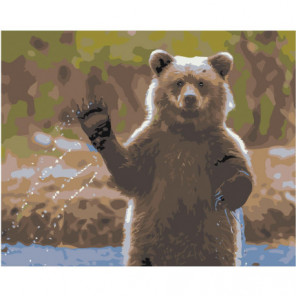 Медведь машет лапой 100х125 Раскраска картина по номерам на холсте