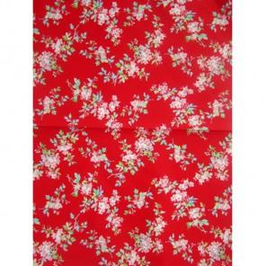 Розовые цветы на красном Бумага для декопатча Decopatch